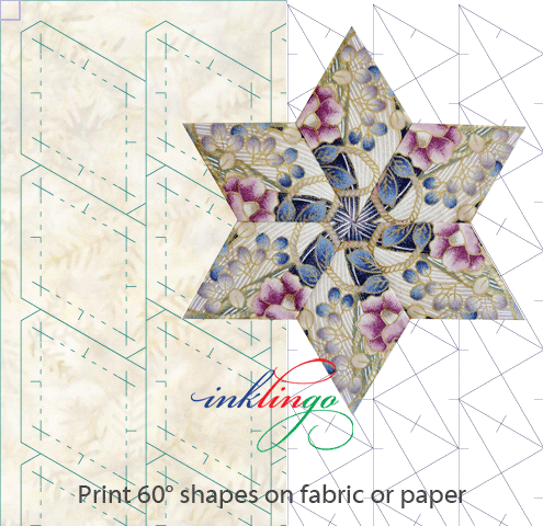 Print templates for diamonds and hexagons on fabric or paper