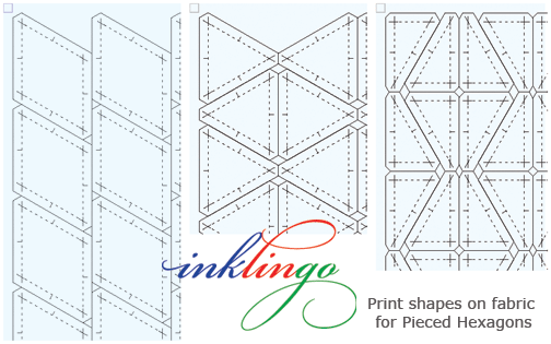 Print the shapes for one Inklingo Pieced Hexagon