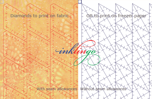 Inklingo shapes with and without seam allowances