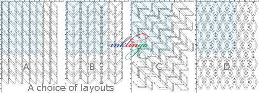 A choice of 4 diamond layouts in the free shape collection.