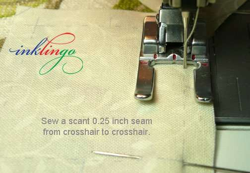 Sew from crosshair to crosshair.