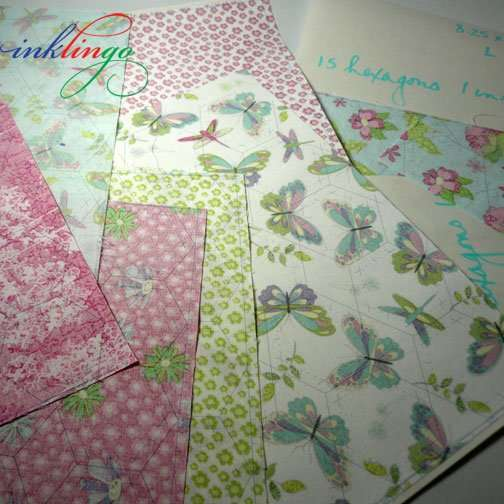 Fabric printed with Hexagons