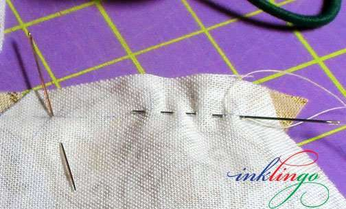 Sewing with a running stitch