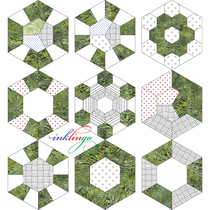 Pieced Hexagons with one shape collection