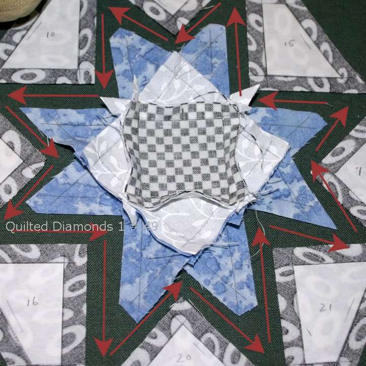Continuous stitching a star by hand