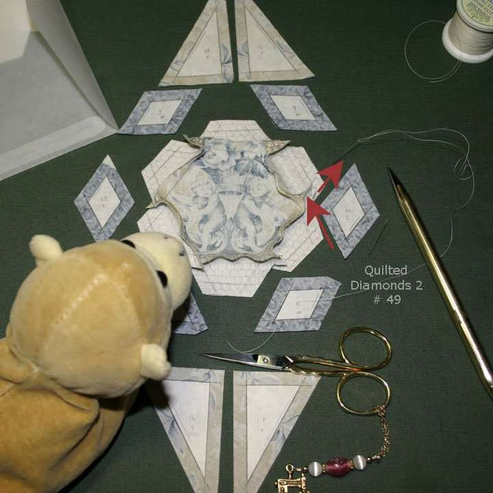 Continuous stitching Quilted Diamonds