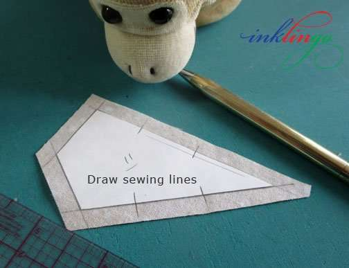 Draw sewing lines on fabric