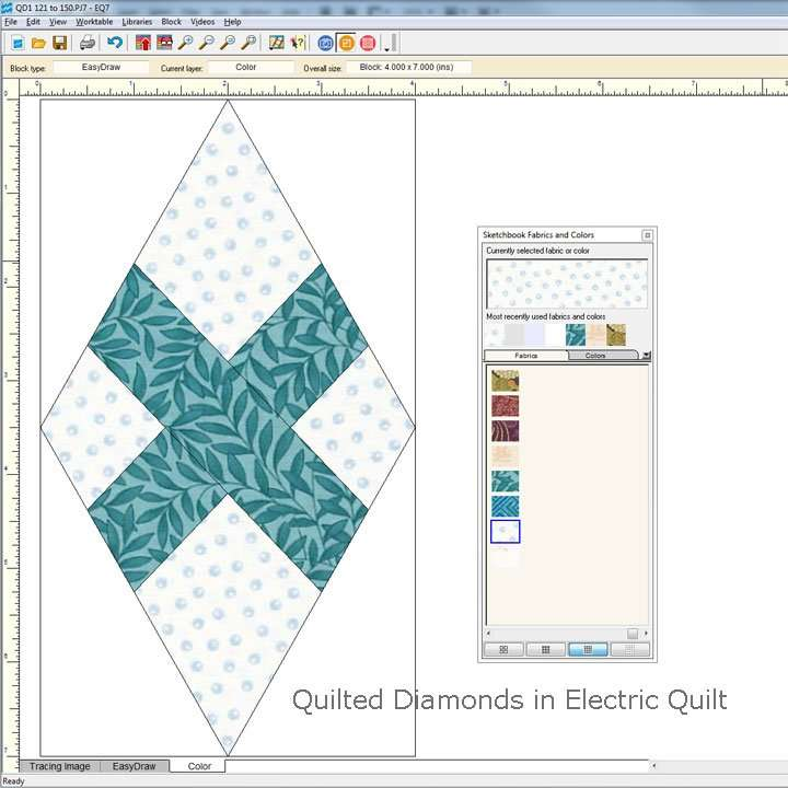 Quilted Diamonds in Electric Quilt