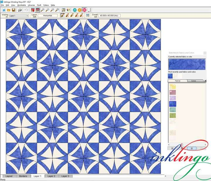 Winding Ways Quilt with Inklingo Deluxe shapes