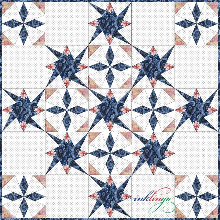 Key West Beauty quilt with Starry Path